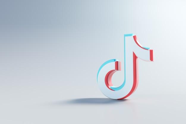 Logo 3d tiktok, aplikacja społecznościowa. renderowanie 3d