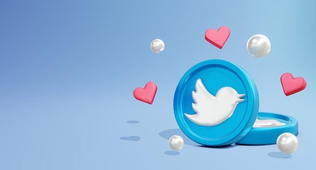 Logo 3d twitte social media z modelem monety i ikoną miłości