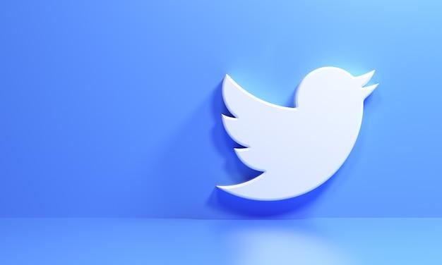 Logo 3d twitter na niebieskim tle, aplikacja społecznościowa. ilustracja renderowania 3d