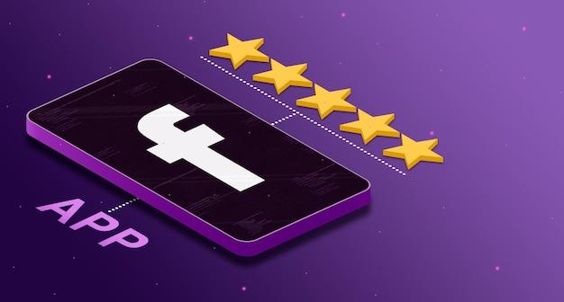 Logo aplikacji facebook na telefonie z pięciogwiazdkową oceną 3d