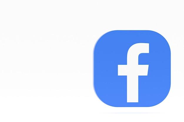 Logo aplikacji facebook renderowanie 3d na białym tle