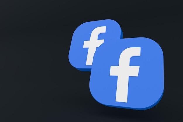 Logo aplikacji facebook renderowanie 3d na czarnym tle
