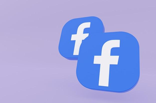 Logo aplikacji facebook renderowanie 3d na fioletowym tle