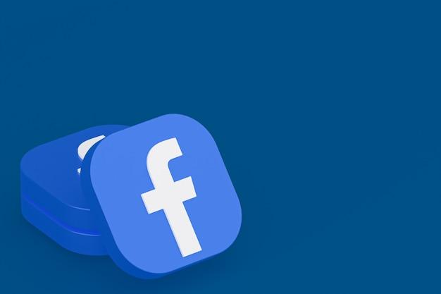 Logo aplikacji facebook renderowanie 3d na niebieskim tle