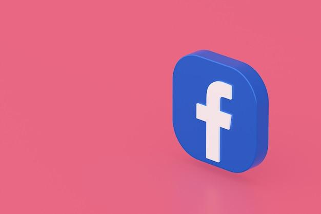 Logo aplikacji facebook renderowanie 3d na różowym tle