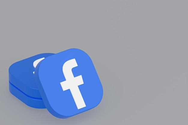 Logo aplikacji facebook renderowanie 3d na szarym tle