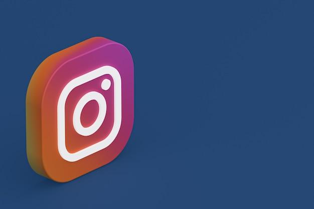 Logo aplikacji instagram renderowania 3d na niebieskim tle