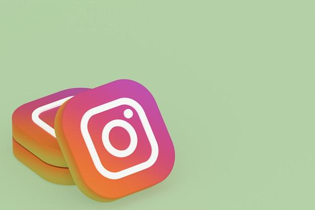 Logo aplikacji instagram renderowania 3d na zielonym tle