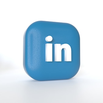 Logo aplikacji linkedin z renderowaniem 3d
