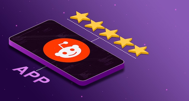 Logo aplikacji reddit na telefonie z pięciogwiazdkową oceną 3d