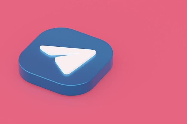 Logo aplikacji telegramu renderowania 3d na różowym tle
