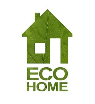 Logo domu z zielonego liścia. napis eco home. zbliżenie