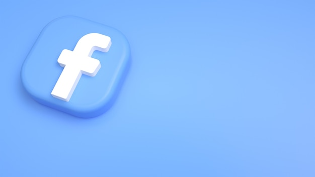 Logo facebook minimalne tło 3d