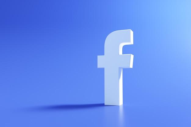 Logo facebooka 3d, aplikacja do mediów społecznościowych. renderowanie 3d