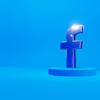 Logo facebooka 3d na szklanym tle stoi na niebiesko