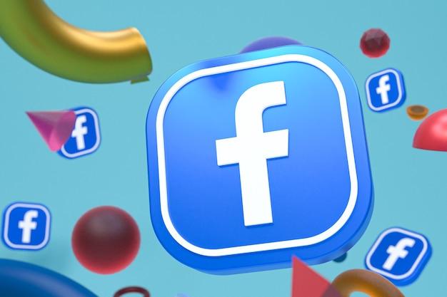 Logo facebooka ig na tle abstrakcyjnej geometrii