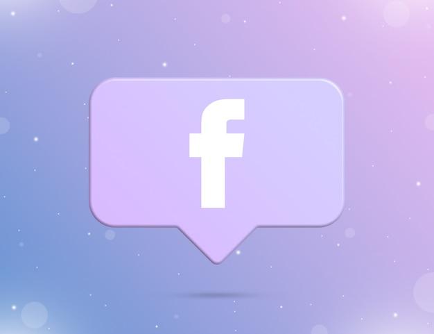 Logo facebooka na ikonie powiadomienia 3d