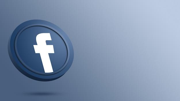 Logo facebooka na renderowaniu okrągłego przycisku