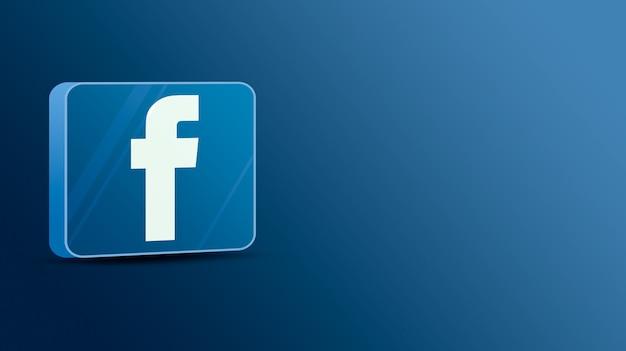 Logo facebooka na szklanej platformie 3d