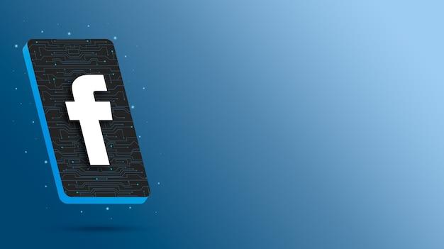 Logo facebooka na technologicznym wyświetlaczu telefonu renderowania 3d