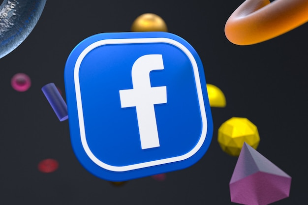 Logo facebooka na tle abstrakcyjnej geometrii
