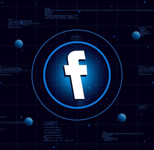 Logo facebooka na tle realistycznej technologii