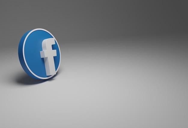 Logo facebooka w kolorze białym i niebieskim na białym tle w tle, wszystko w 3d.