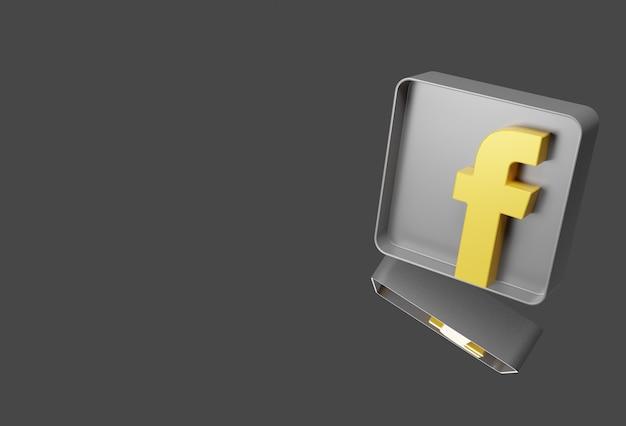 Logo facebooka w kolorze złotym i srebrnym na białym tle na tle, wszystko w 3d.