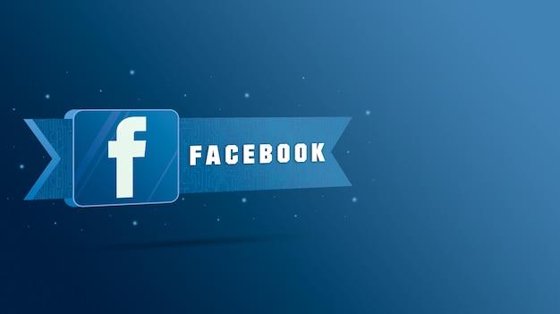 Logo facebooka z napisem na tabliczce technologicznej 3d