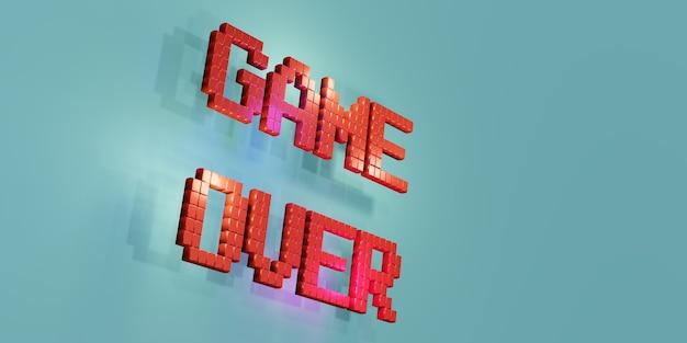 Logo game over neon laser color alphabet glow effect zabawna i radosna ilustracja 3d