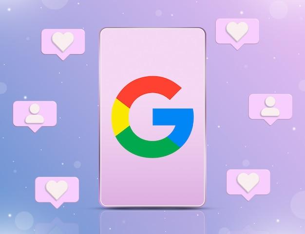 Logo google na ekranie telefonu z ikonami powiadomień o nowych polubieniach i obserwujących wokół 3d