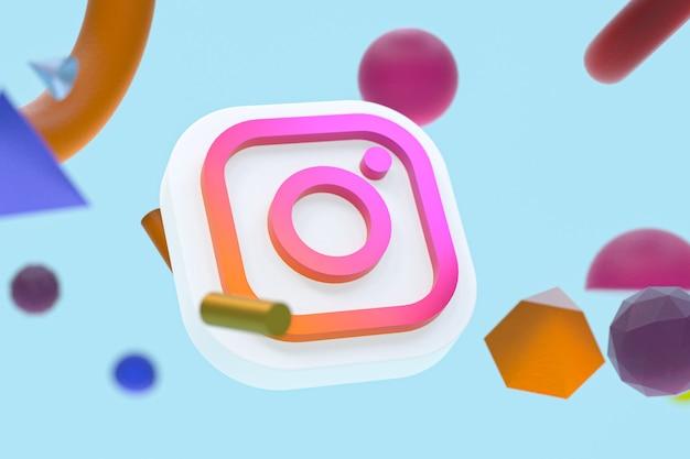 Logo ig instagram na abstrakcyjnym tle geometrycznym