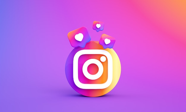 Logo ikony instagram dla mediów społecznościowych z miejscem na kopię 3d zdjęcie premium
