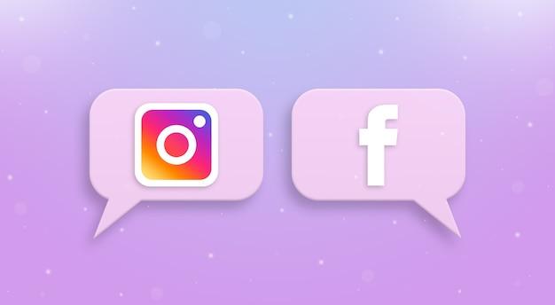 Logo instagram i facebook na ikonach komentarzy społecznościowych 3d