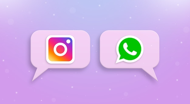 Logo instagram i whatsapp na ikonach komentarzy społecznościowych 3d