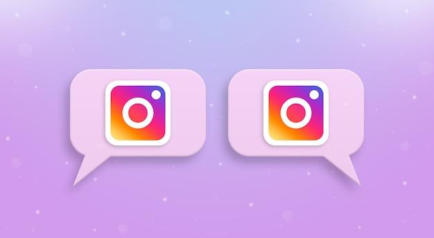 Logo instagram na ikonach komentarzy społecznościowych 3d