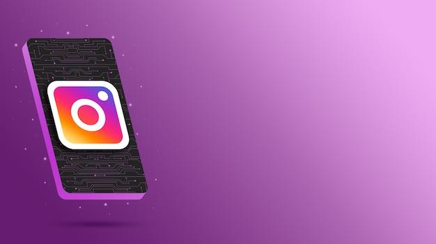 Logo instagram na technologicznym wyświetlaczu telefonu renderowania 3d