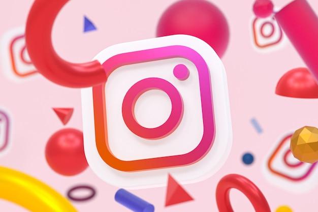 Logo instagram na tle abstrakcyjnej geometrii