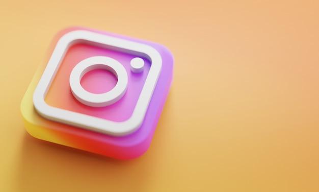 Logo instagram renderowania 3d z bliska. szablon promocji konta.