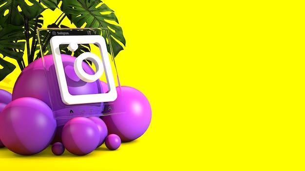 Logo instagram w renderowaniu 3d na białym tle