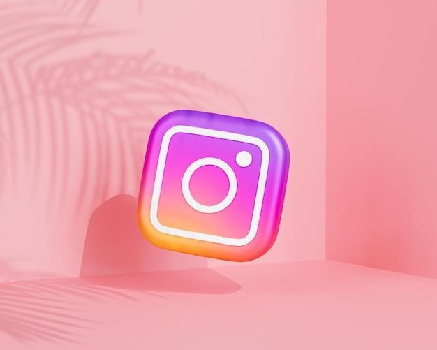Logo instagrama z cieniem tropikalnych liści