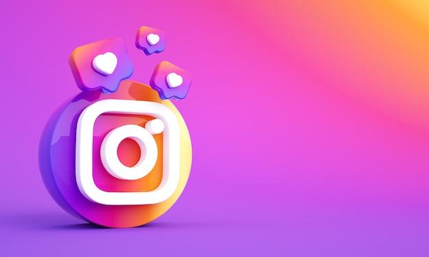 Logo instagramu w mediach społecznościowych z miejscem na kopię i podobnymi ikonami zdjęcie premium