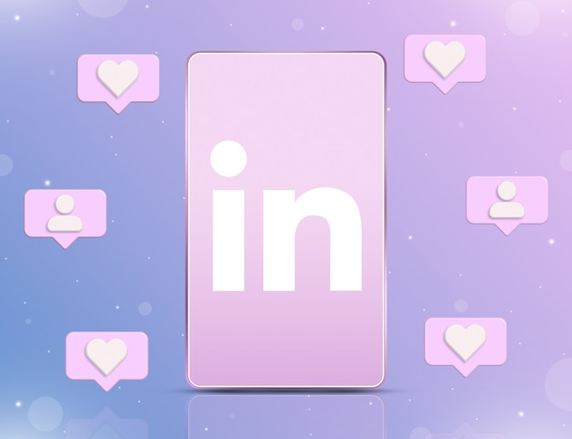 Logo linkedin na ekranie telefonu z ikonami powiadomień o nowych polubieniach i obserwujących wokół 3d