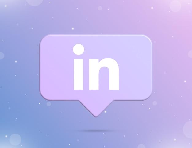 Logo linkedin na ikonie powiadomienia 3d