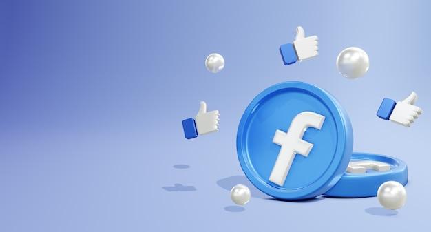 Logo mediów społecznościowych 3d na facebooku z modelem monety i polubioną ikoną
