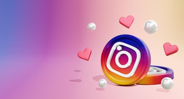 Logo mediów społecznościowych 3d na instagramie z modelem monety i ikoną miłości