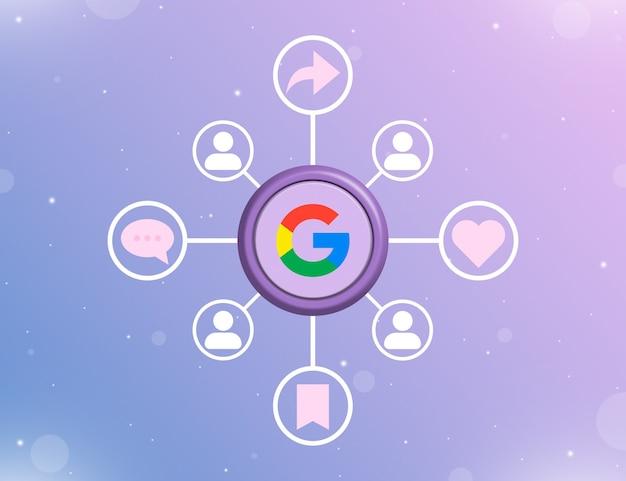 Logo mediów społecznościowych google na okrągłym przycisku z rodzajami działań społecznościowych i ikonami użytkownika 3d