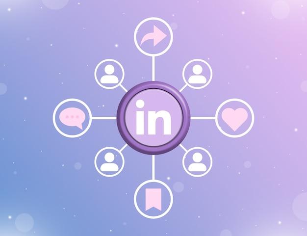 Logo mediów społecznościowych linkedin na okrągłym przycisku z rodzajami działań społecznościowych i ikonami użytkownika 3d