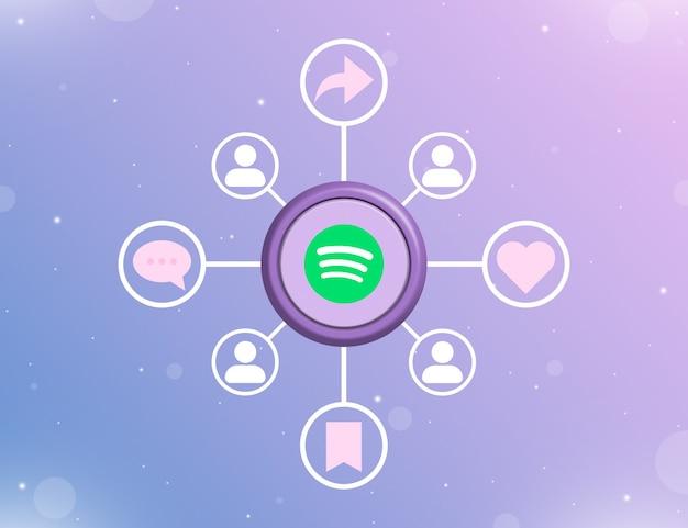 Logo mediów społecznościowych spotify na okrągłym przycisku z rodzajami działań społecznościowych i ikonami użytkownika 3d