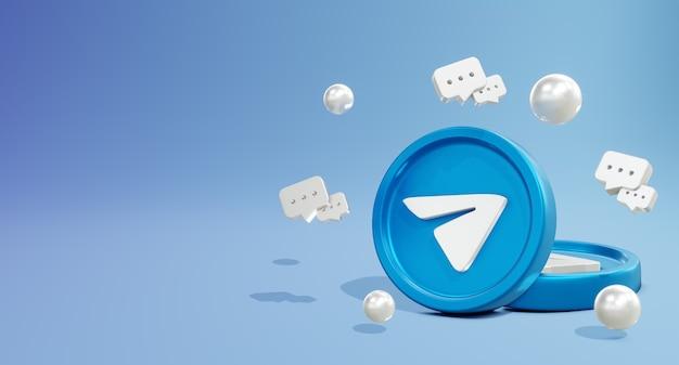 Logo mediów społecznościowych telegram 3d z modelem monety i ikoną czatu